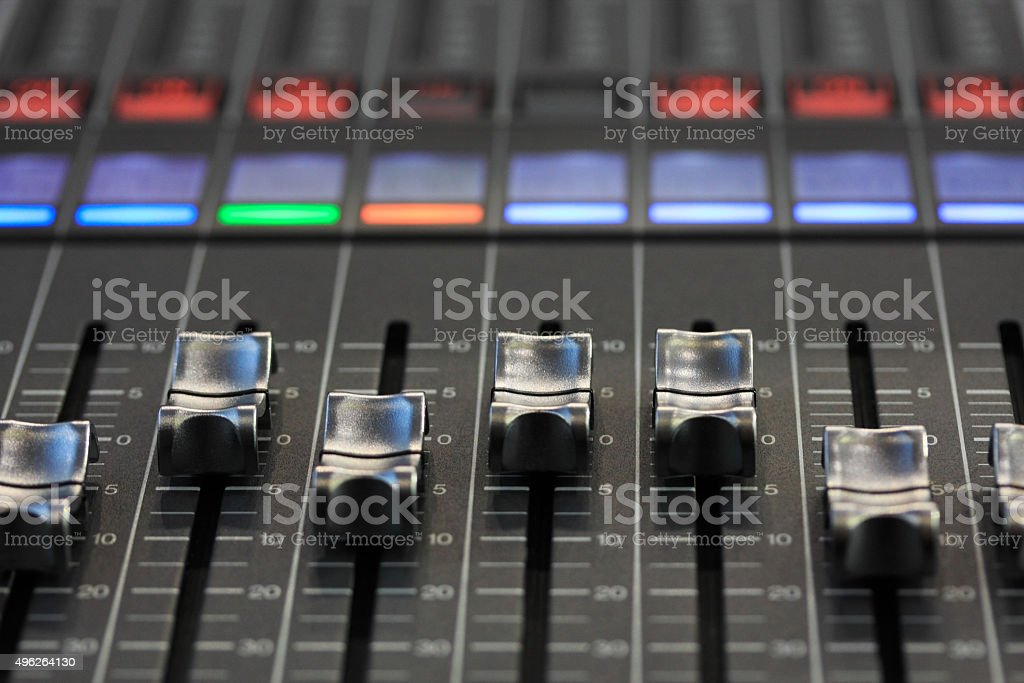 digital mixing console stock photo