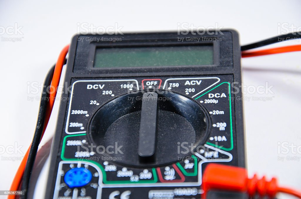 Digital multimeter isolated on white background stock photo