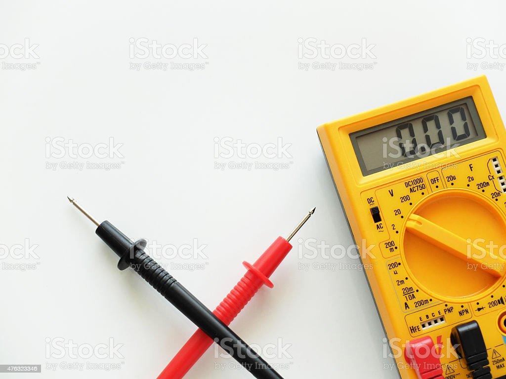 Digital Multimeter on White Background. stock photo