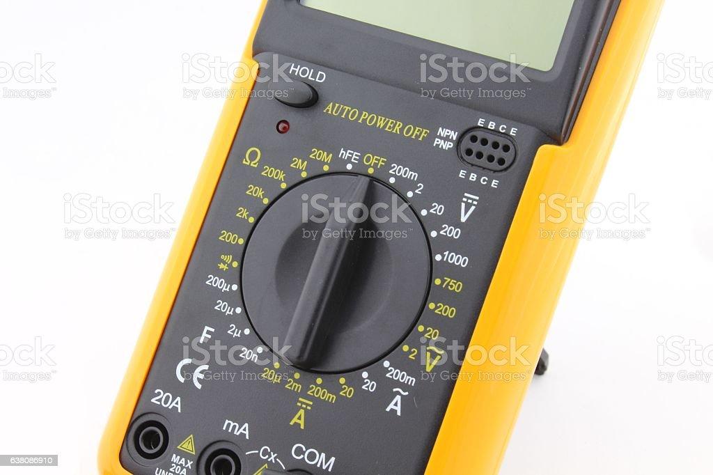 Digital multimeter range selector stock photo