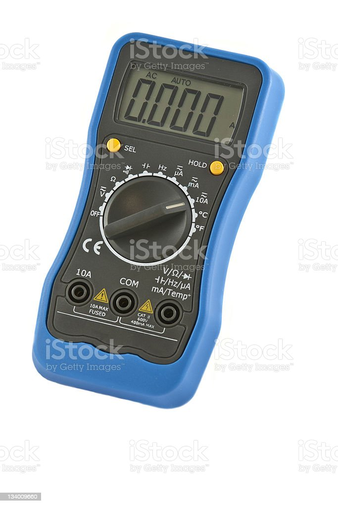 Digital multimeter with blue case on a white background stock photo
