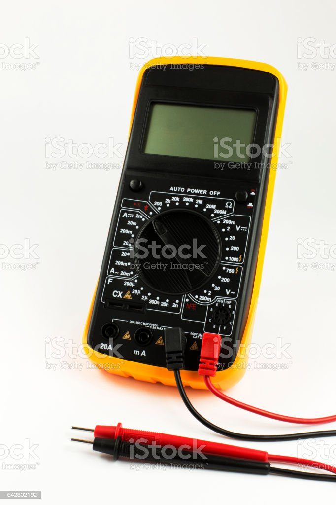 Digital multimeter with probes stock photo