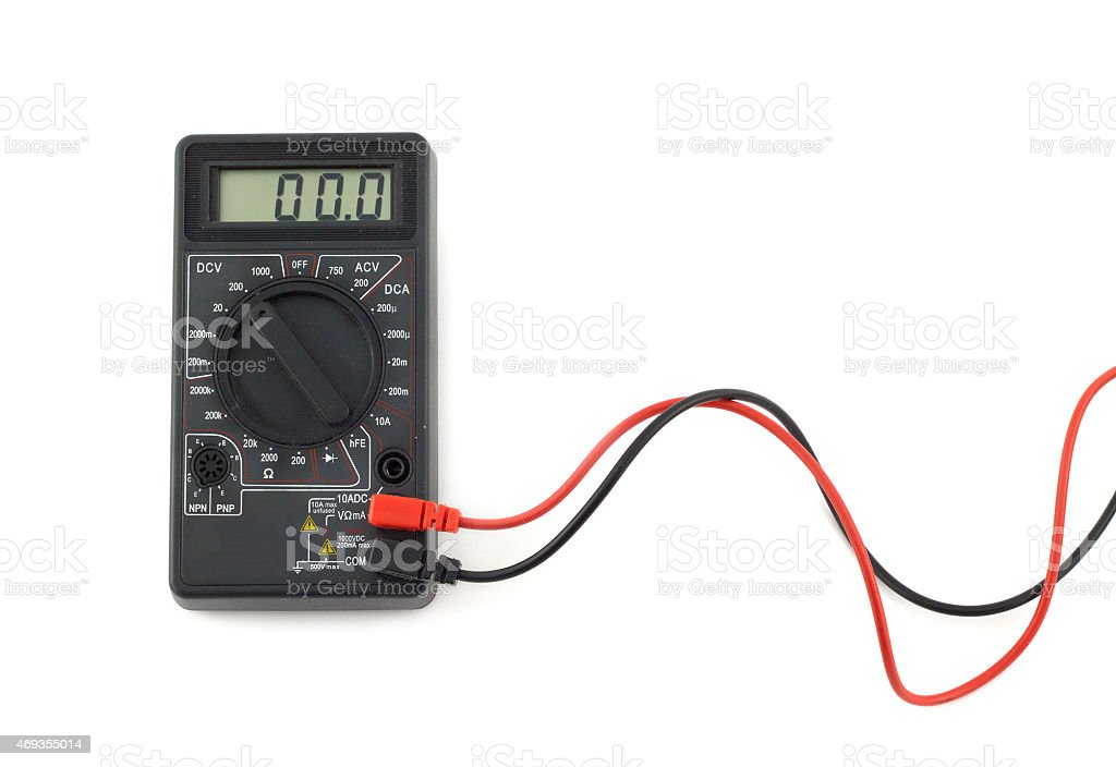 Digital multimeter with red and black wires shows zero stock photo