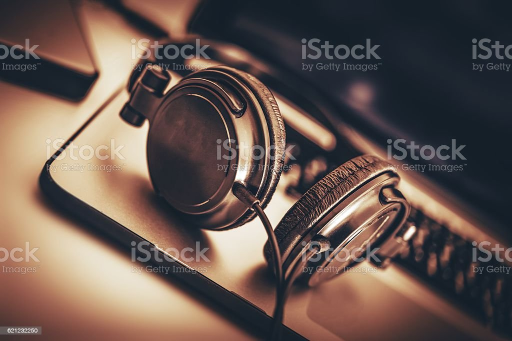 Digital Music Headphone stock photo