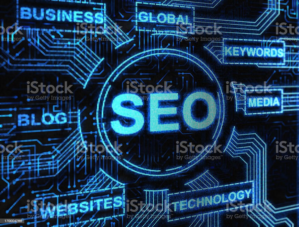 Digital network of SEO and related internet keywords royalty-free stock photo