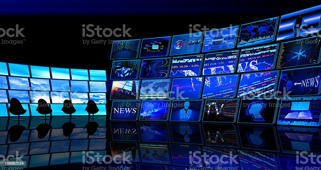 Digital News TV studio room stock photo