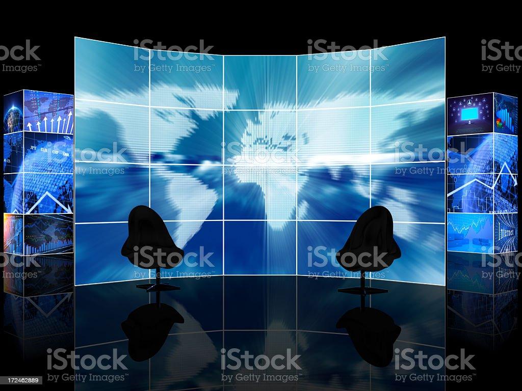 Digital News TV studio room royalty-free stock photo