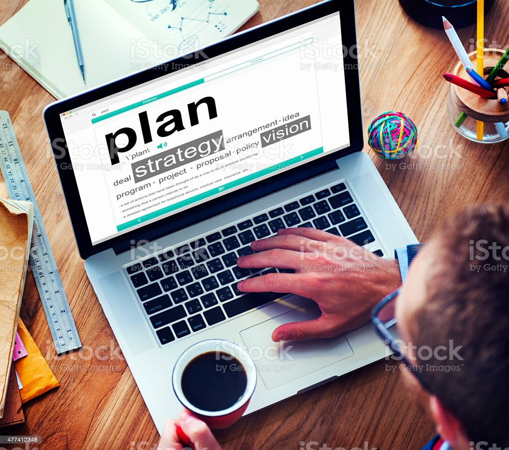 Digital Online Plan Business Office Working Concept stock photo