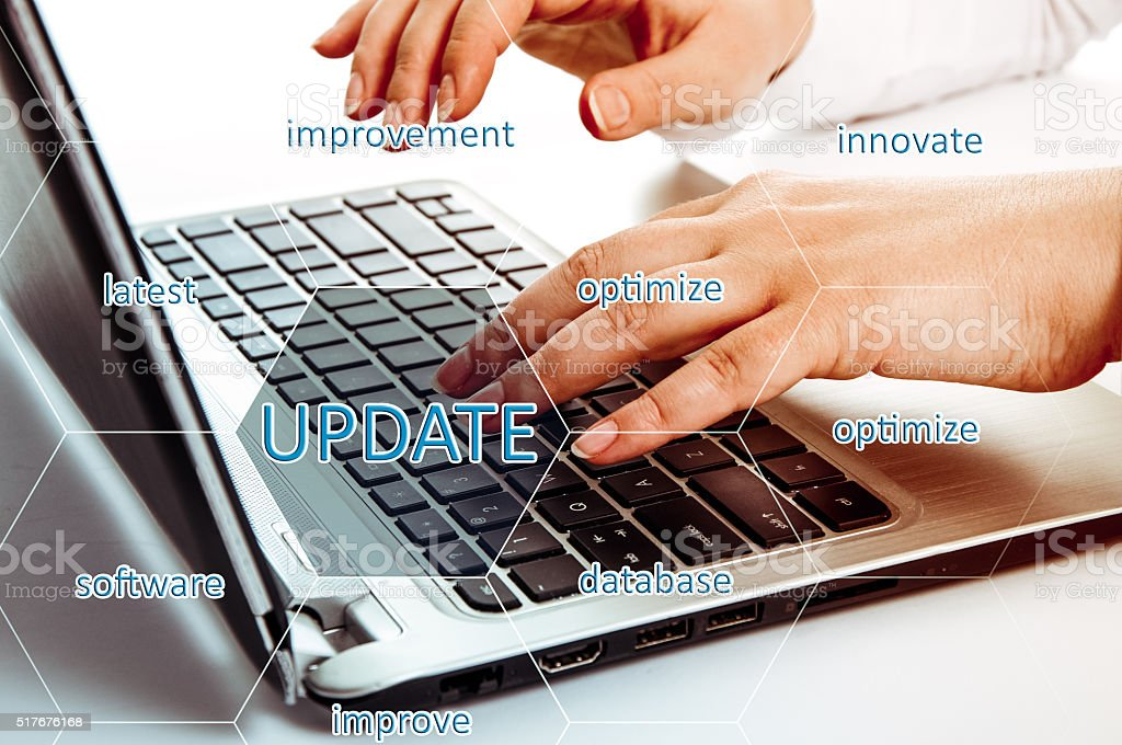 Digital Online Update Upgrade Office Working Concept. Optimize stock photo
