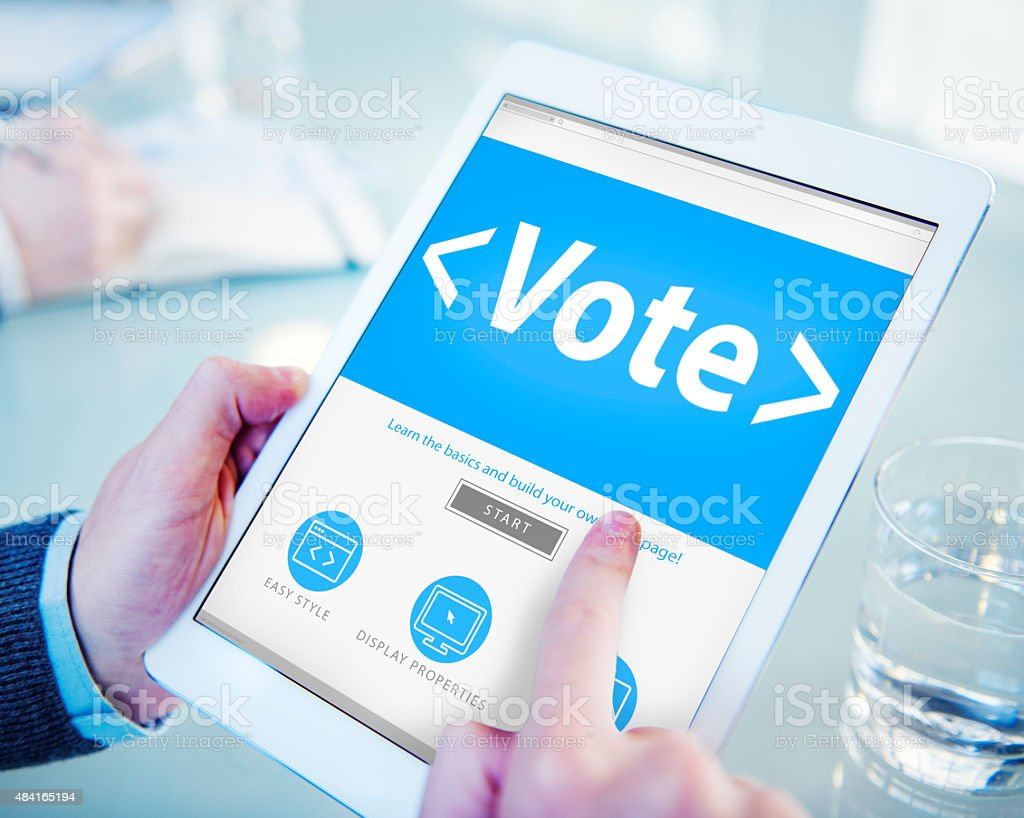 Digital Online Vote Democracy Politcs Election Government Concep stock photo