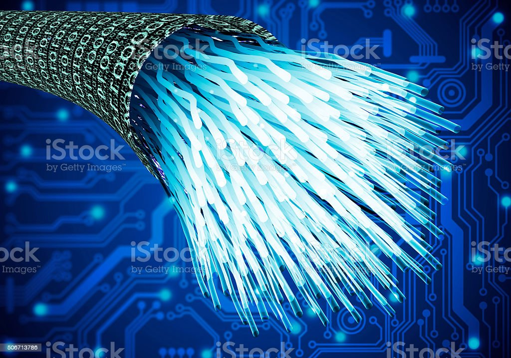 digital optical data cable in a data vortex. stock photo
