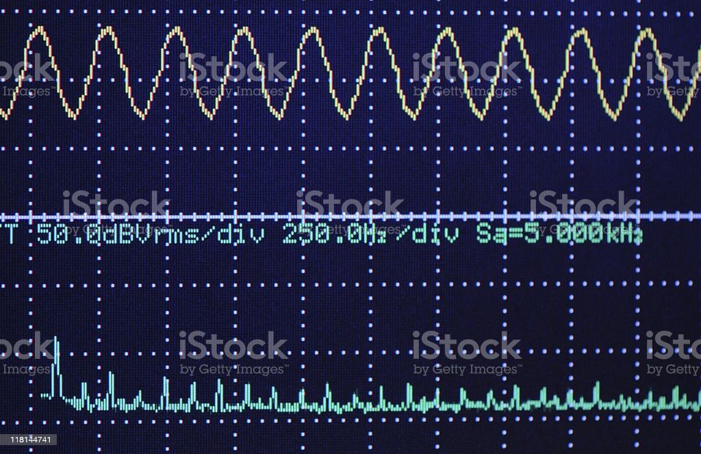 Digital oscillogram stock photo