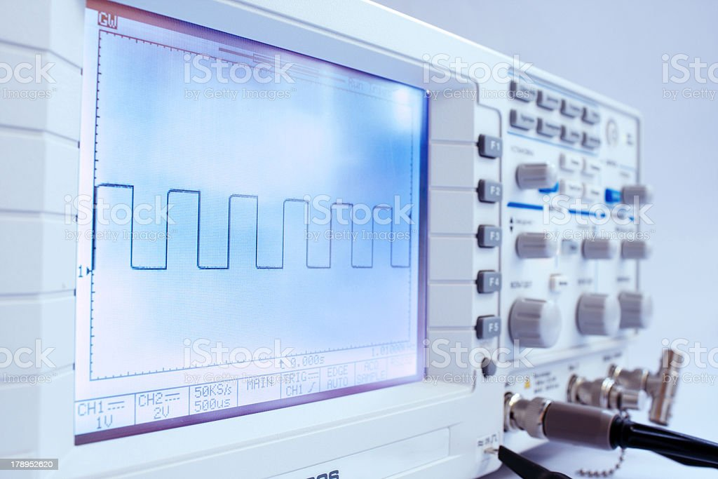 Digital oscillograph stock photo