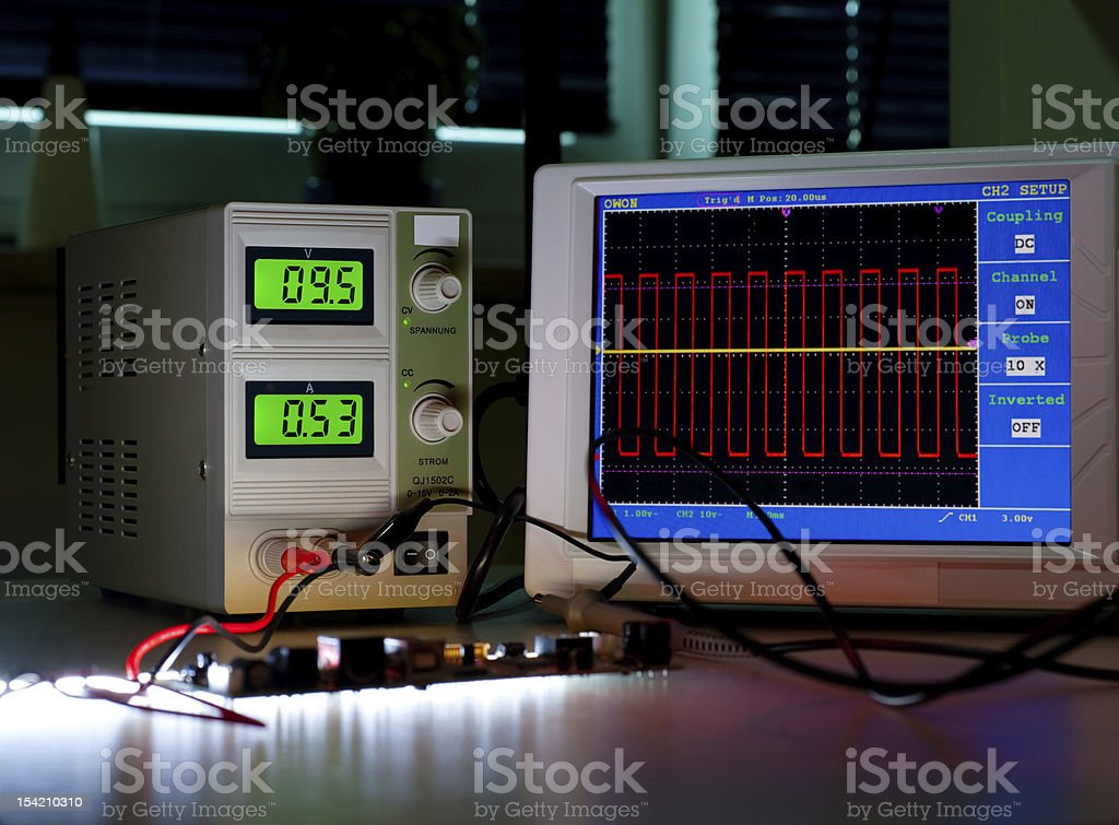 Digital oscilloscope stock photo