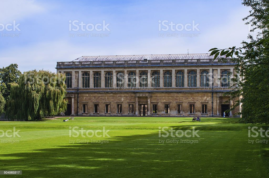 Digital painting of Trinity college University of Cambridge, UK stock photo