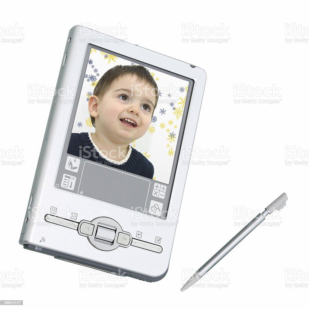 Digital PDA & Stylus Over White royalty-free stock photo