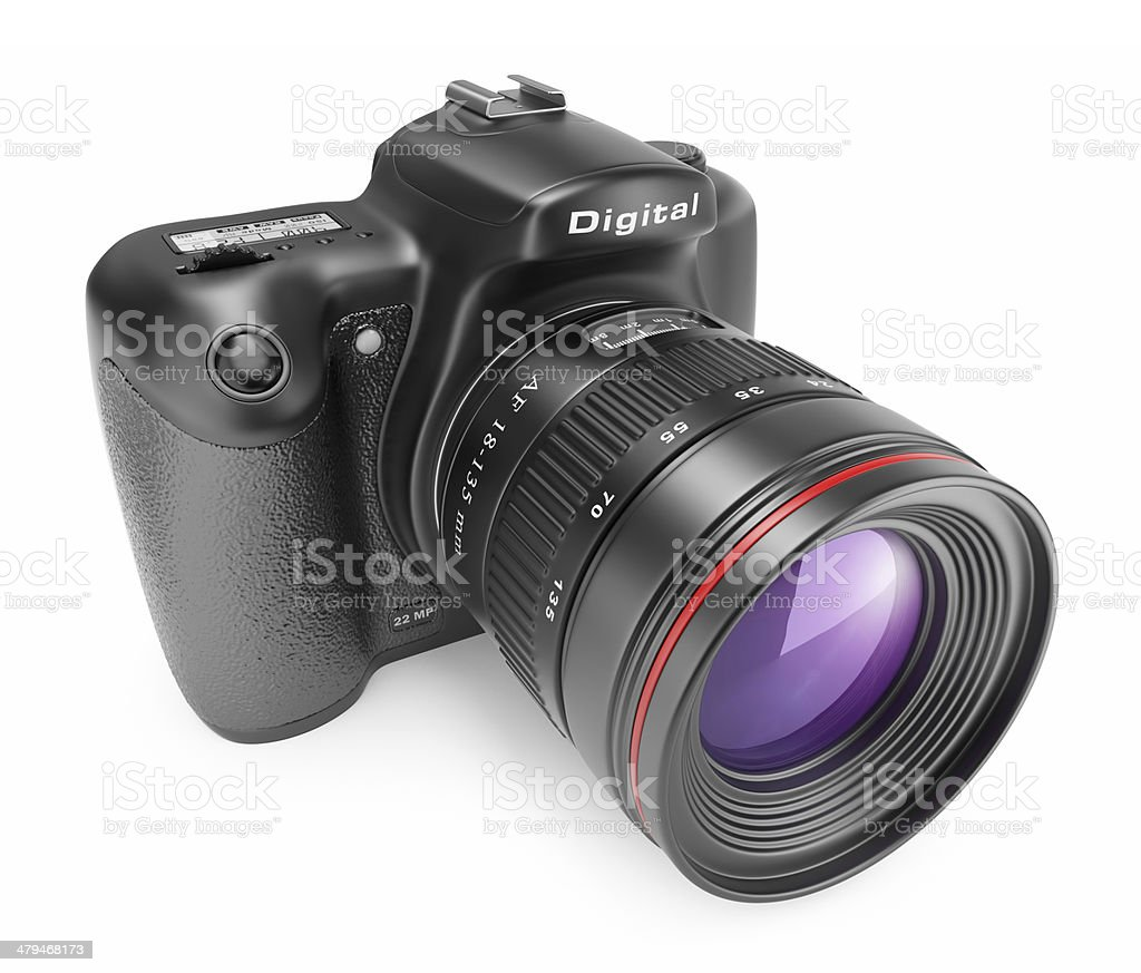 Digital photo camera. 3D Icon isolated stock photo