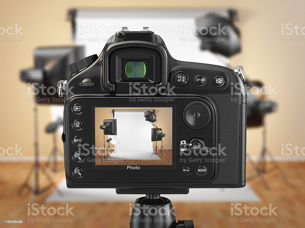 Digital photo camera in studio with softbox and flashes. stock photo