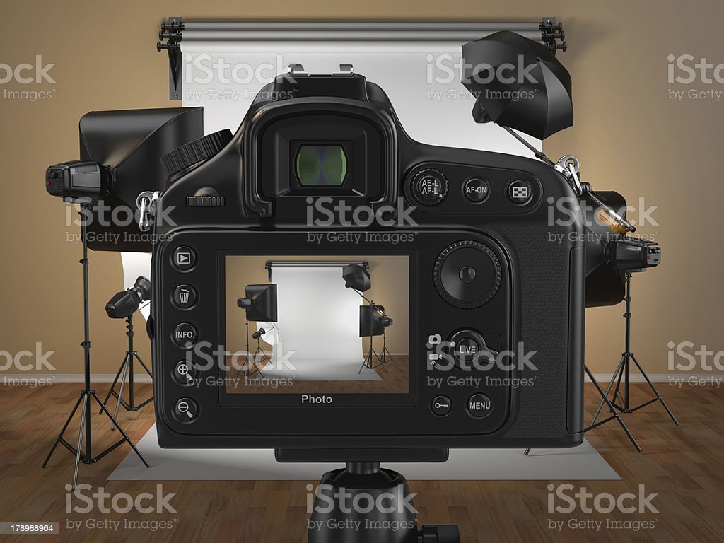Digital photo camera in studio with softbox and flashes stock photo