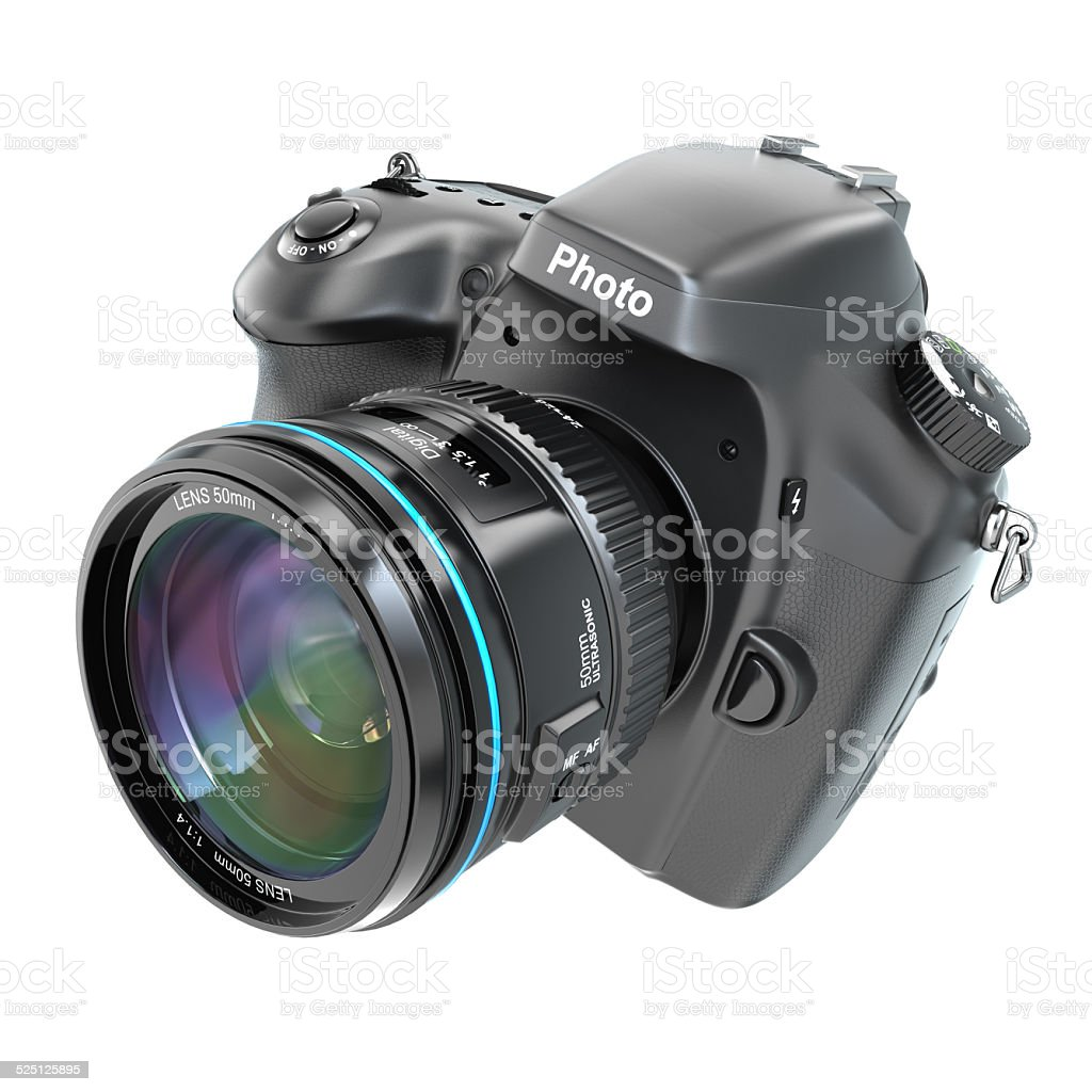 DSLR Digital photo camera isolted on white. stock photo