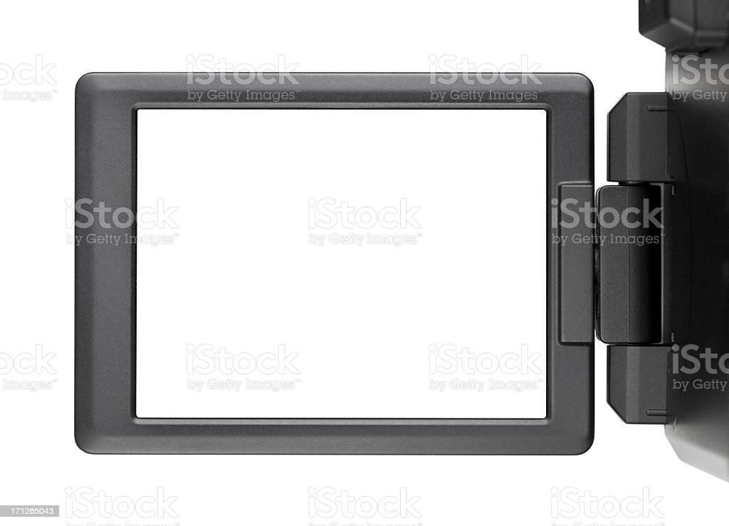 Digital photo camera with screen open. royalty-free stock photo