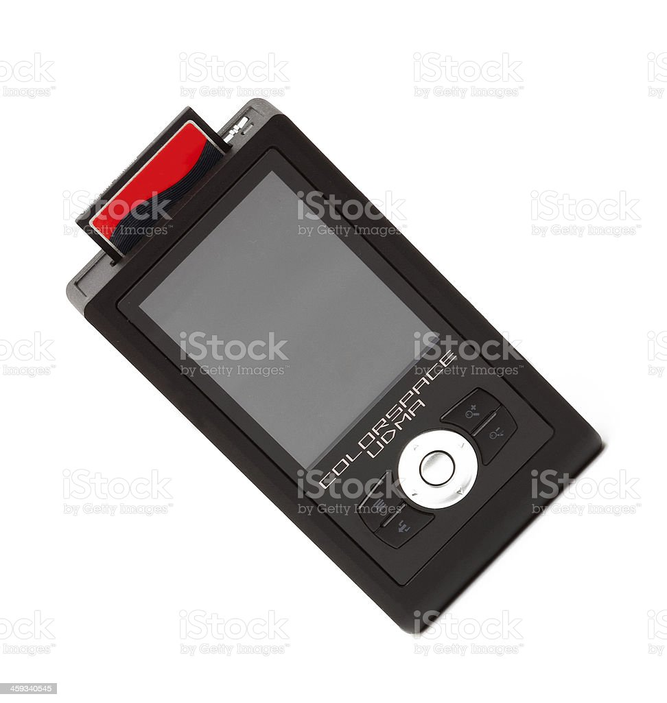 Digital photobank with compact flash card isolated stock photo