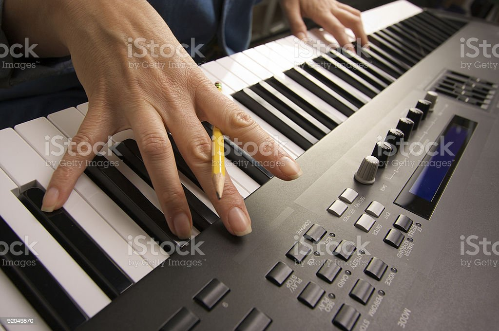 Digital Piano Keyboard Abstract and Fingers stock photo