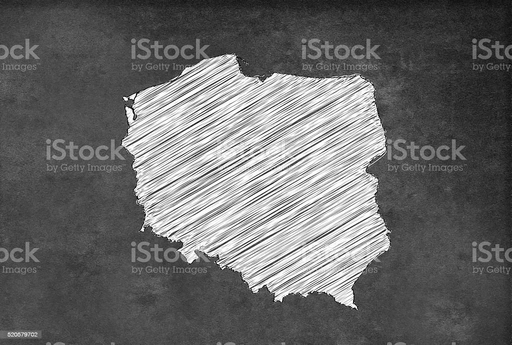 Digital Polish map on a blackboard stock photo