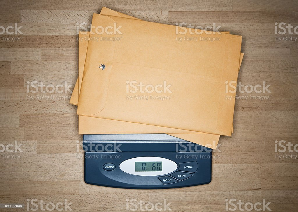 Digital Postale Scale Weighing Envelopes stock photo