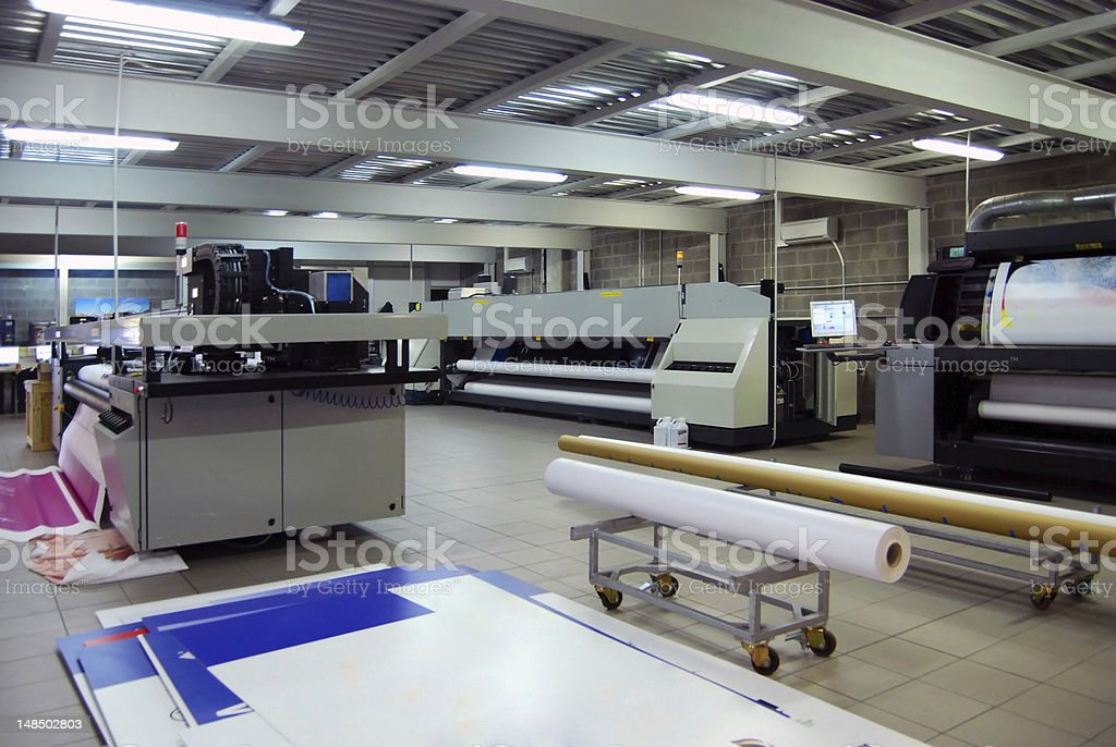Digital printing - wide format printer stock photo