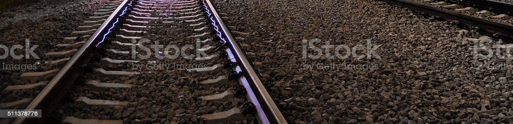 Digital rails, analog rails stock photo