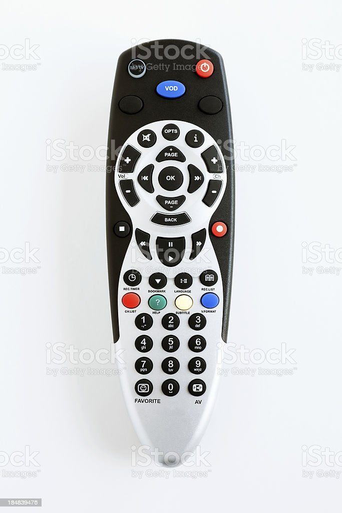 digital remote control on white with clipping path stock photo