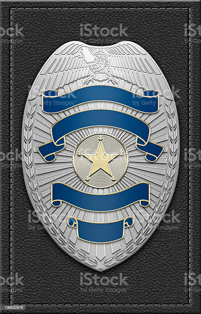 Digital rendering of a blank police badge stock photo