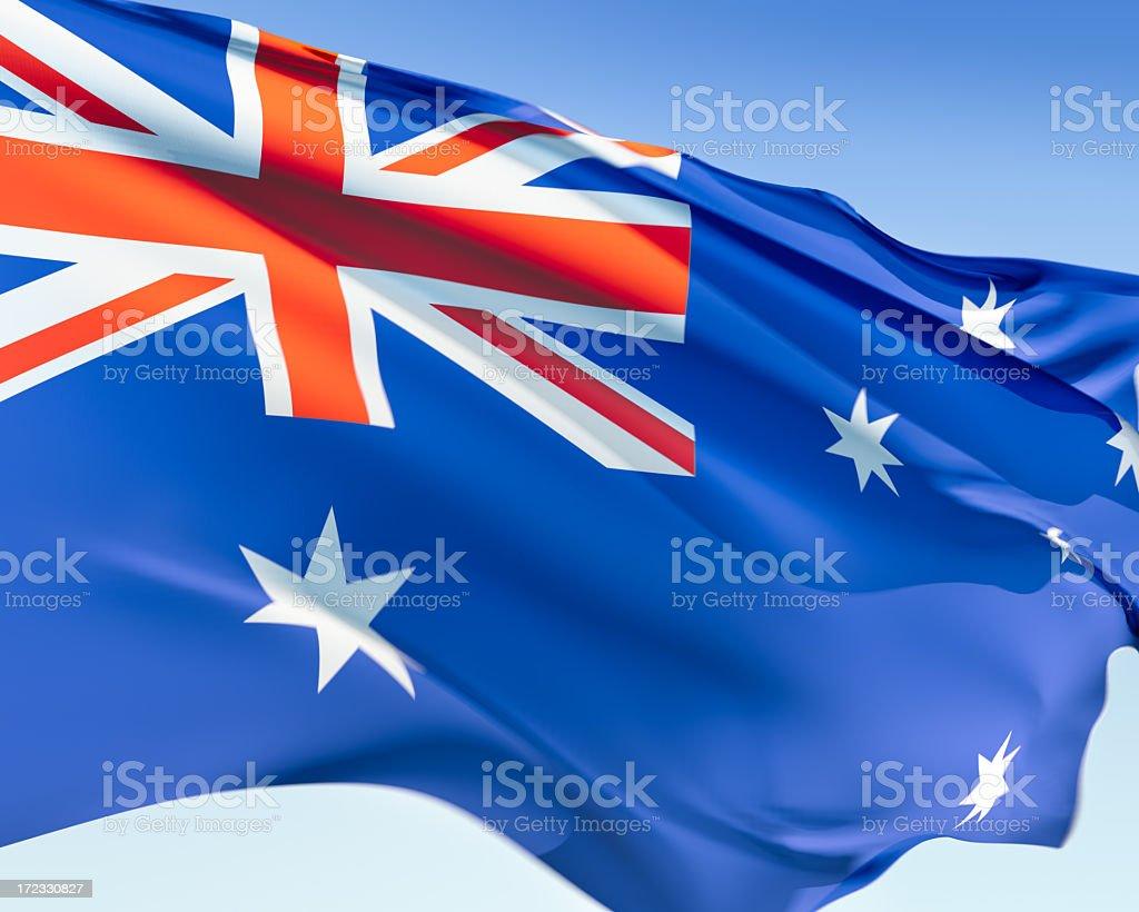 Digital rendering of a waving Australian flag stock photo