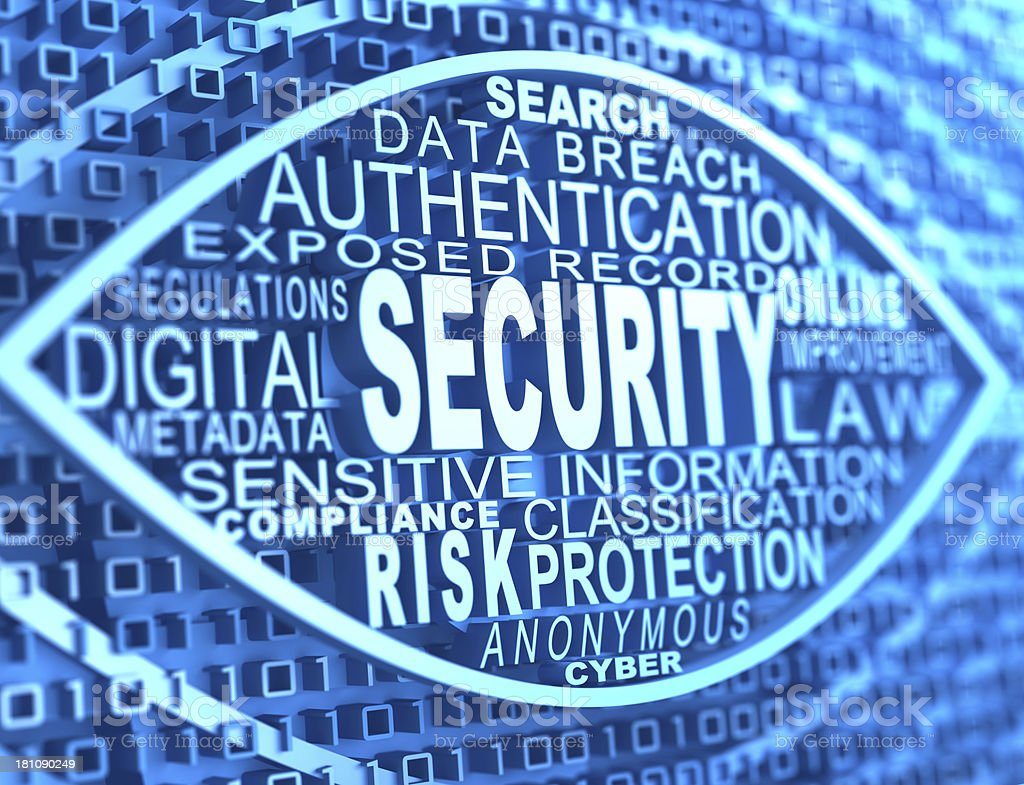 Digital representation of security related tags stock photo