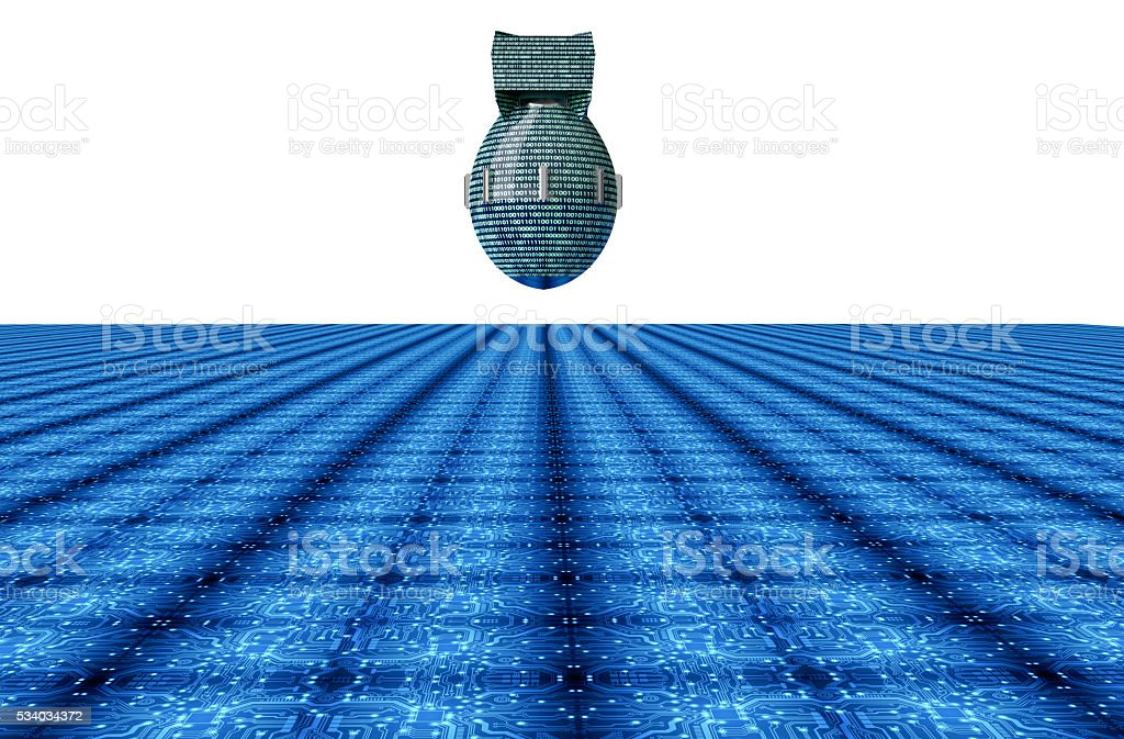 digital safety concept computer bomb in electronic environment, stock photo