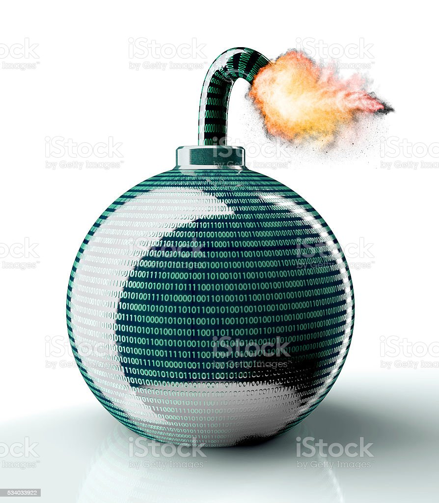 digital safety concept computer bomb isolated on white stock photo