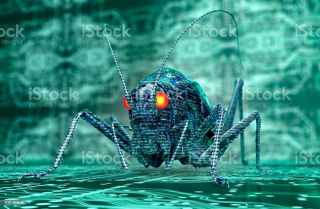 digital safety concept computer bug in electronic environment, 3 stock photo