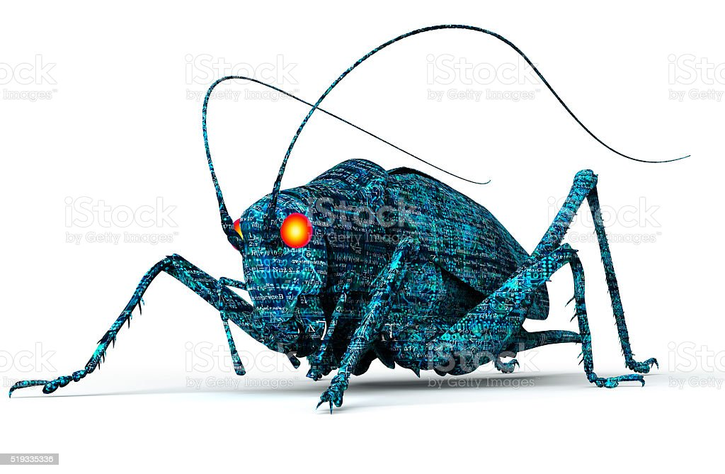 digital safety concept computer bug isolated on white, 3D illust stock photo