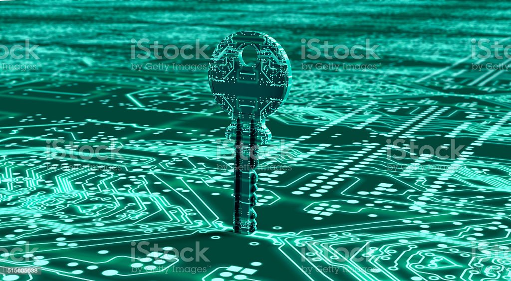 digital safety concept key in electronic environment stock photo