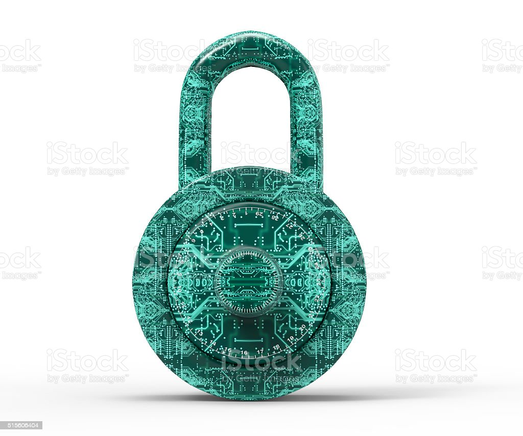 digital safety concept padlock isolated on white stock photo