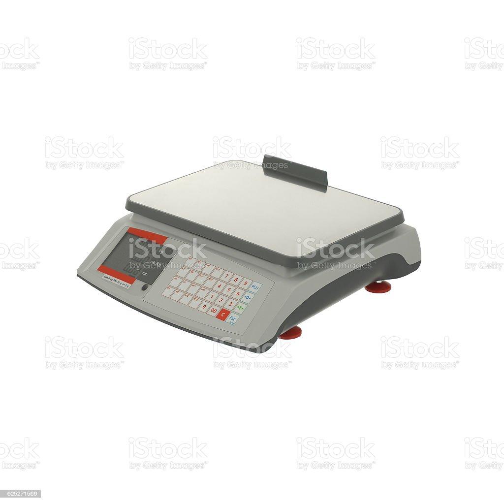 Digital scales isolated on white background stock photo