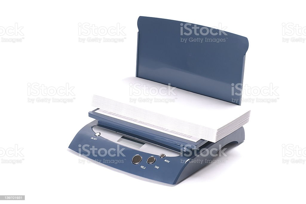 Digital scales with envelopes on the white background. royalty-free stock photo