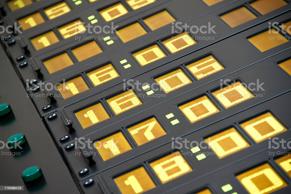 Digital schedule display royalty-free stock photo