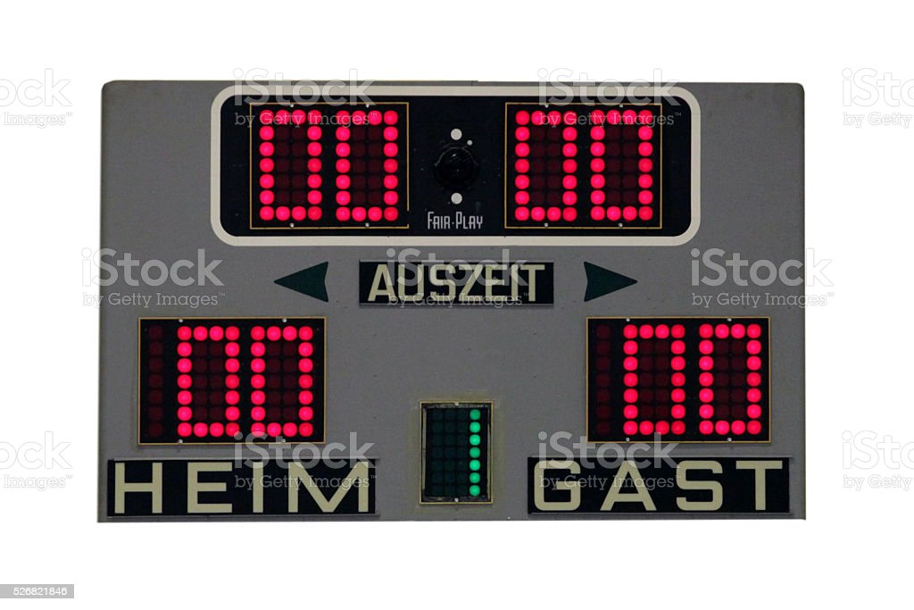 Digital scoreboard with timeout indicator stock photo