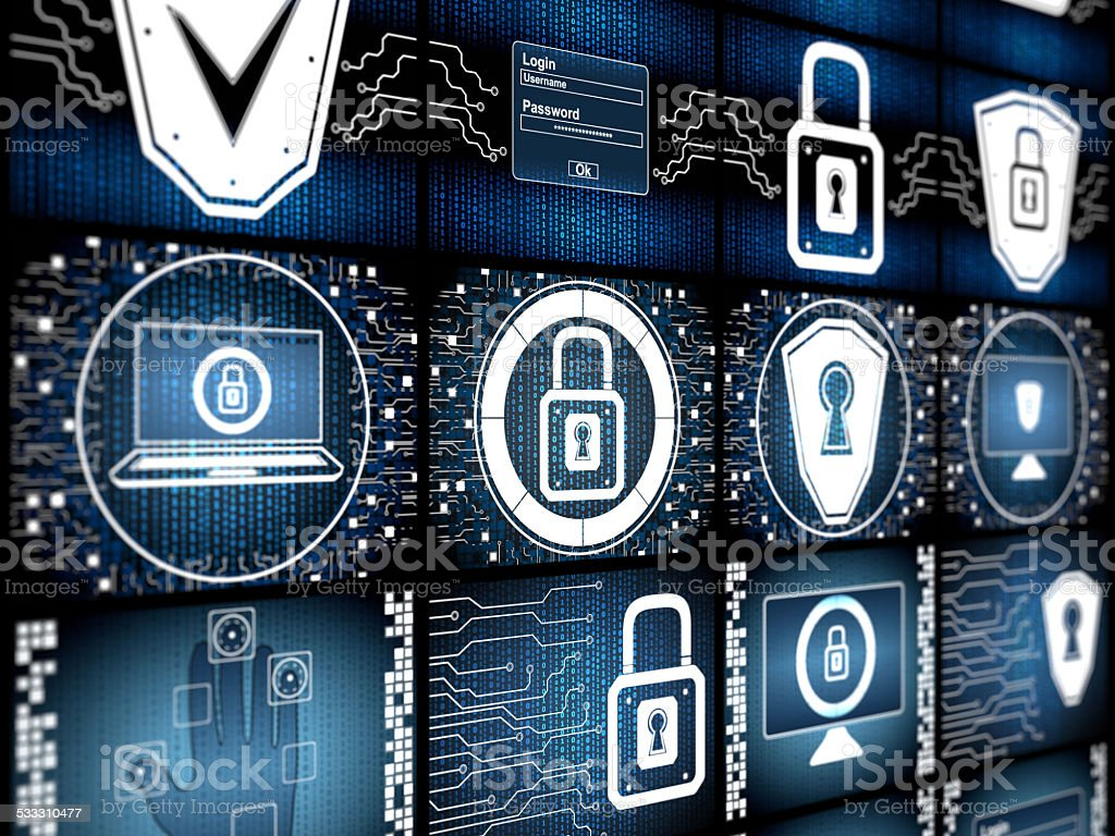 Digital security concept screen stock photo