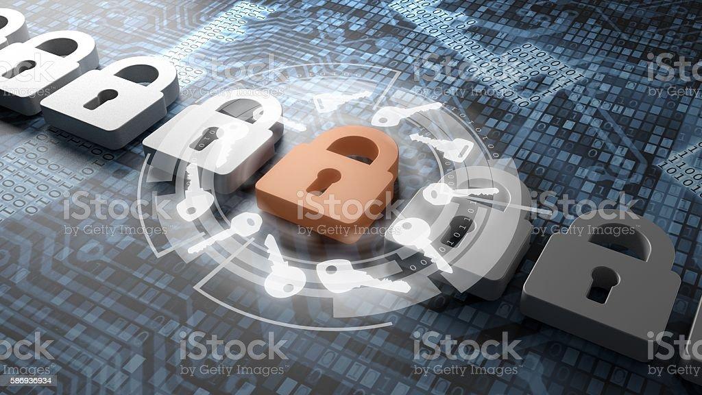 Digital security concept with keys around lock stock photo
