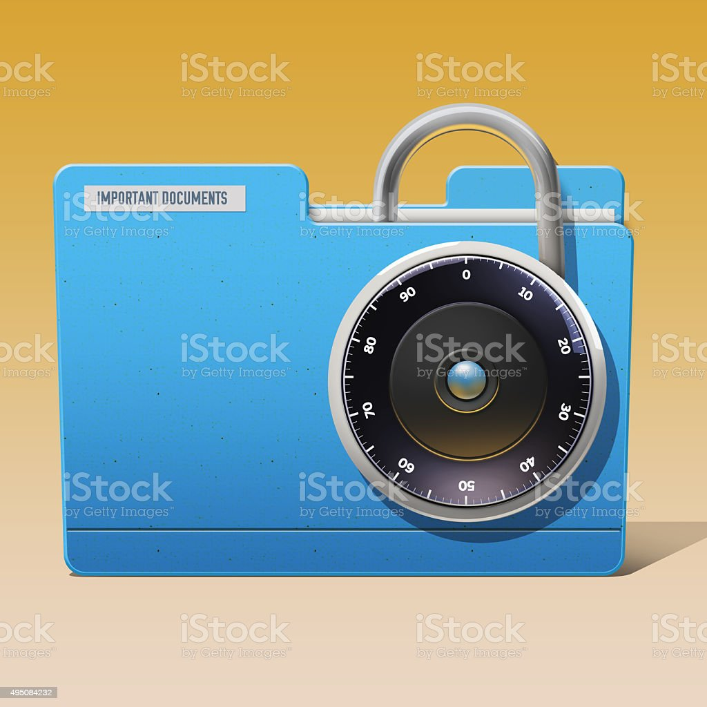 Digital security of a important documents stock photo
