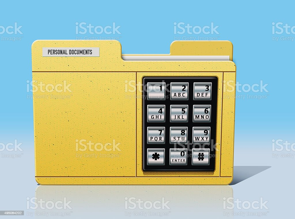 Digital security of a important documents with code stock photo