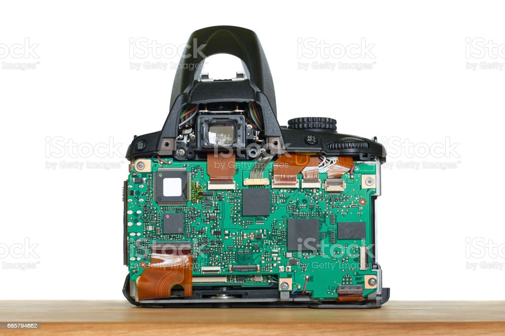 Digital single reflex camera dismantled for repair stock photo